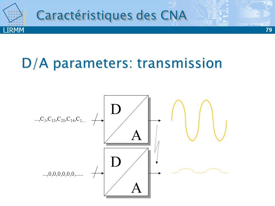LIRMM 79 D/A parameters: transmission D A D A...,C 5,C 13,C 20,C 14,C 1,......,0,0,0,0,0,0,..... Caractéristiques des CNA