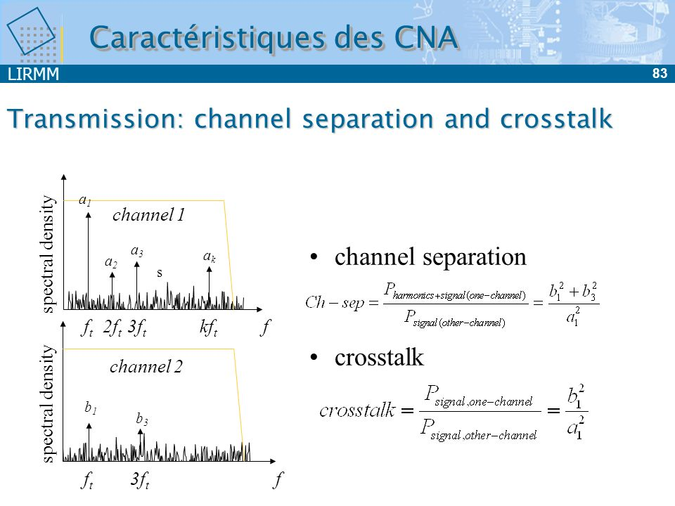 LIRMM 83 Transmission: channel separation and crosstalk channel separation crosstalk fftft 2f t 3f t kf t channel 1 spectral density a1a1 a2a2 a3a3 ak