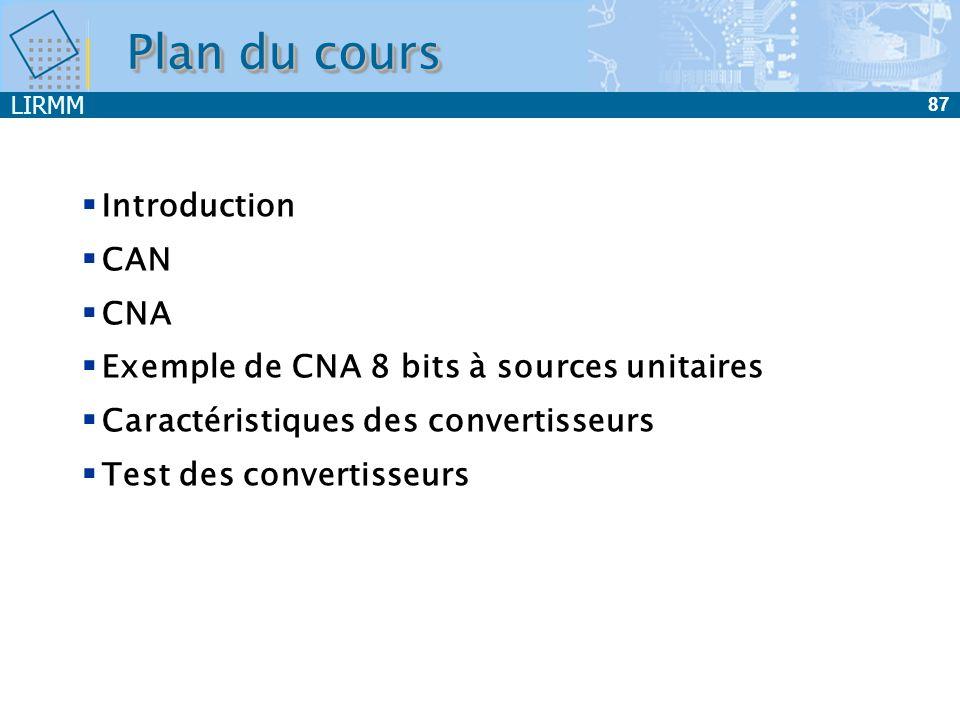 LIRMM 87 Plan du cours Introduction CAN CNA Exemple de CNA 8 bits à sources unitaires Caractéristiques des convertisseurs Test des convertisseurs