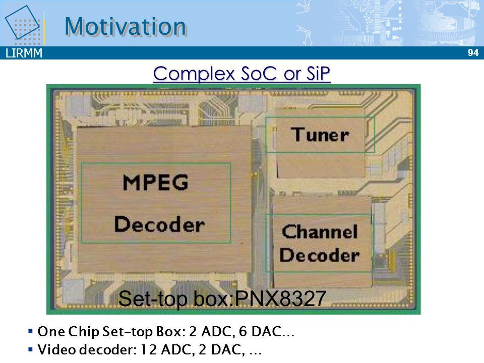 LIRMM 94 MotivationMotivation One Chip Set-top Box: 2 ADC, 6 DAC… Video decoder: 12 ADC, 2 DAC, … Complex SoC or SiP DAC3 ADC4 DAC1 DAC4 ADC3 ADC1 ADC