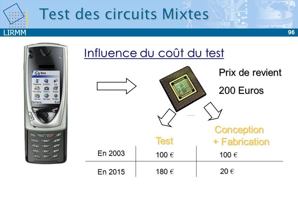 LIRMM 96 Prix de revient 200 Euros Influence du coût du test En 2015 180 180 20 20 100 100 Test Conception + Fabrication En 2003 100 100 Test des circ