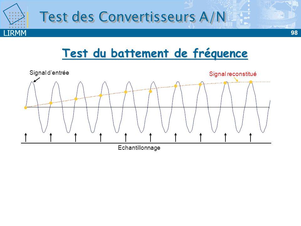 LIRMM 99 Principe : Signal dentrée sinusoïdal F entrée = F échantillonnage + petit F Valeur de F variation de 1LSB pour la plus grande pente du signal dentrée Analyse de la sinusoïde de sortie (de fréquence F) Donne une indication sur la présence de NL et de codes manquants Test du battement de fréquence Test des Convertisseurs A/N Précision Complexité Temps de calcul Peu utilisé