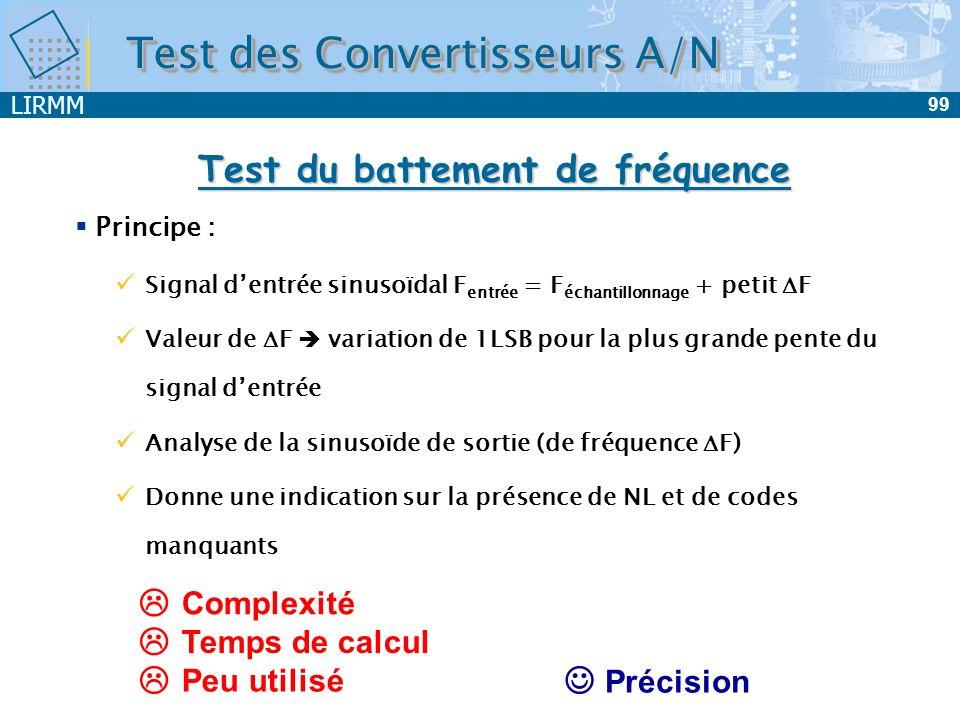 LIRMM 100 Régression sinusoïdale 0111001110 0101001010 0110001100 Temps Amplitude Estimation : A.sin(2.F in + )+M Amplitude + Bruit CAN Test des Convertisseurs A/N