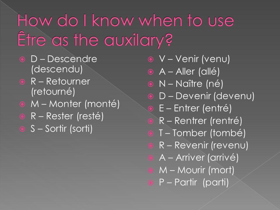 We can remember the necessary parts of le passé composé by using the acronym S.A.P. S = Sujet A = Auxiliaire P = Participe passé EX: Il a sautéNous so