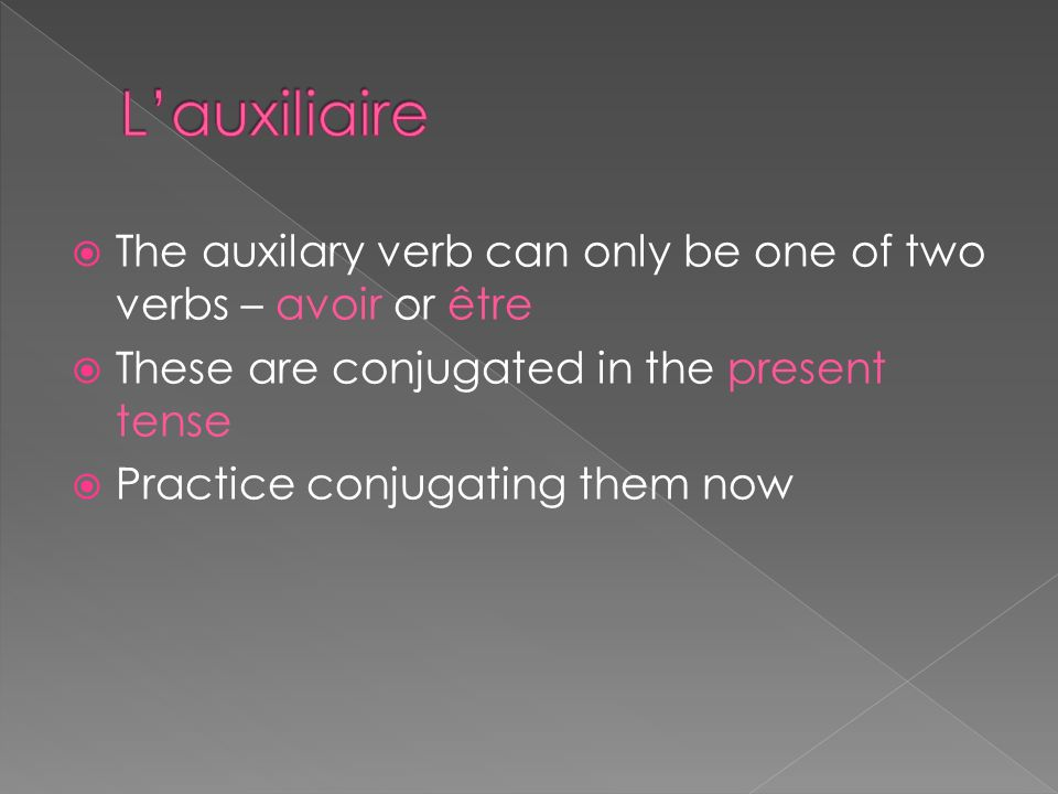 The auxilary verb can only be one of two verbs – avoir or être These are conjugated in the present tense Practice conjugating them now
