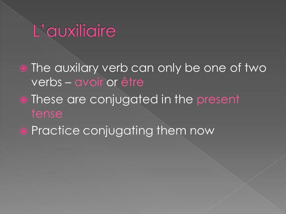 Le passé composé uses 2 verbs #1 – Lauxiliaire #2 – Le participe passé