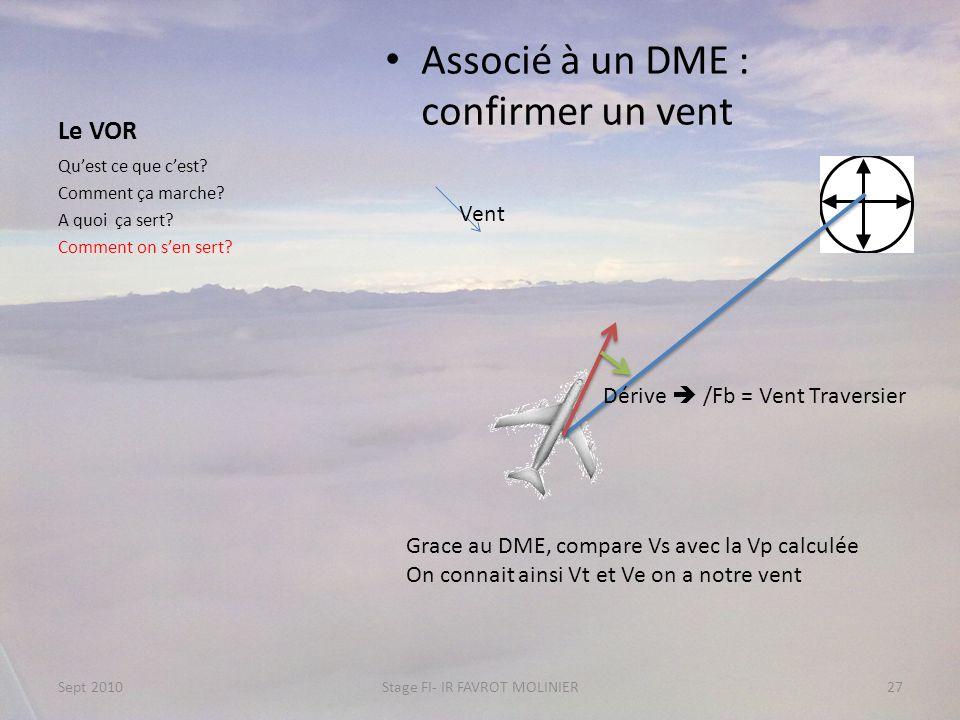 Le VOR Associé à un DME : confirmer un vent Quest ce que cest? Comment ça marche? A quoi ça sert? Comment on sen sert? Sept 2010Stage FI- IR FAVROT MO