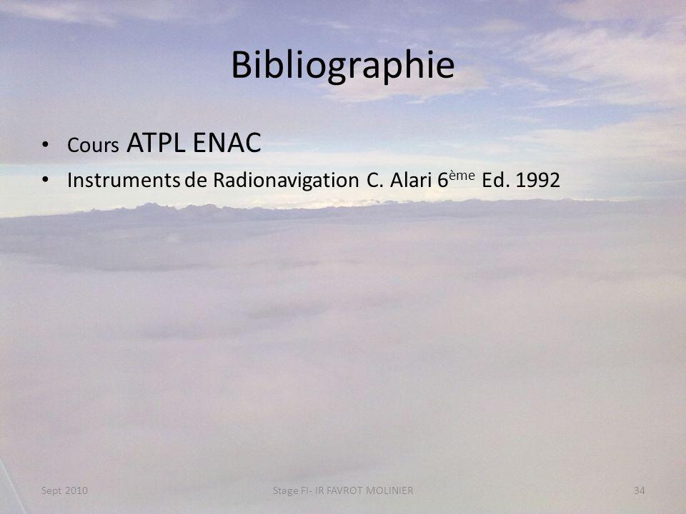 Bibliographie Cours ATPL ENAC Instruments de Radionavigation C. Alari 6 ème Ed. 1992 Sept 2010Stage FI- IR FAVROT MOLINIER34