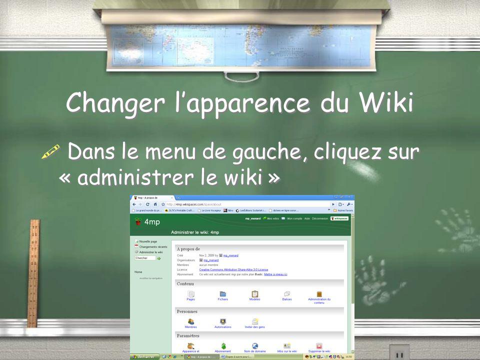 Changer lapparence du Wiki Dans le menu de gauche, cliquez sur « administrer le wiki »