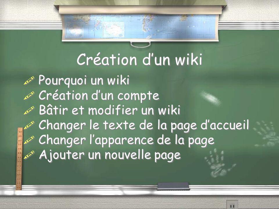 Création dun wiki Pourquoi un wiki Création dun compte Bâtir et modifier un wiki Changer le texte de la page daccueil Changer lapparence de la page Aj