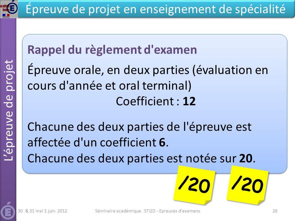 Séminaire académique STI2D - Epreuves d examens26 Lépreuve de projet Épreuve de projet en enseignement de spécialité Rappel du règlement d examen Épreuve orale, en deux parties (évaluation en cours d année et oral terminal) Coefficient : 12 Chacune des deux parties de l épreuve est affectée d un coefficient 6.