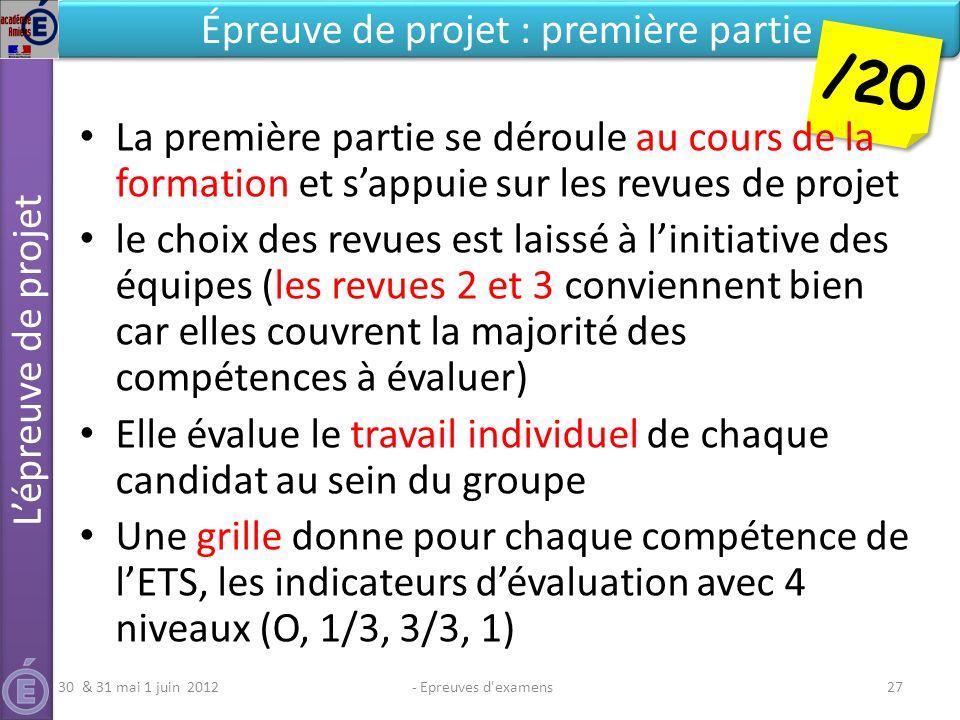 - Epreuves d'examens27 Épreuve de projet : première partie /20 La première partie se déroule au cours de la formation et sappuie sur les revues de pro