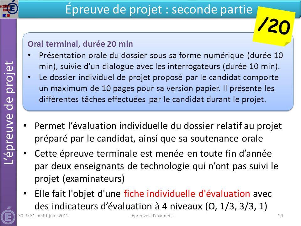 - Epreuves d'examens29 Épreuve de projet : seconde partie Permet lévaluation individuelle du dossier relatif au projet préparé par le candidat, ainsi