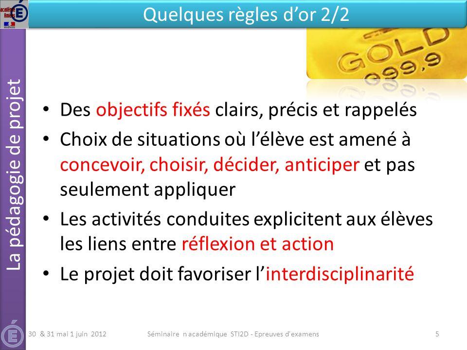 Le programme et le document Ressources sur Eduscol http://media.eduscol.education.fr/file/STI2D/15/2/LyceeGT_Ressources_STI2D_ T_Enseignement_Technologique_Specifiques_182152.pdf http://media.eduscol.education.fr/file/STI2D/15/2/LyceeGT_Ressources_STI2D_ T_Enseignement_Technologique_Specifiques_182152.pdf La définition des épreuves technologiques http://eduscol.education.fr/cid46806/epreuves-du-baccalaureat- technologique.html http://eduscol.education.fr/cid46806/epreuves-du-baccalaureat- technologique.html Manager un projet INSEP Consulting Editions 8 http://www.insep-editions.com/1/1-insep-editions.php Le management par projet (article Technologie n°132) Le projet : phasage et jalonnement (article Technologie n°133) Lorganigramme des tâches (article Technologie n°134) La planification dun projet (article Technologie n°136) La spécification du besoin (articles Technologie n°138 & 139) Suivi et revue de projet (article Technologie n°137) Le projet de conception en ETS (article Technologie n°179) Le projet partenarial http://sti.ac-paris.fr Séminaire académique STI2D - Epreuves d examens36 Le projet en STI2D Des documents ressources 30 & 31 mai 1 juin 2012