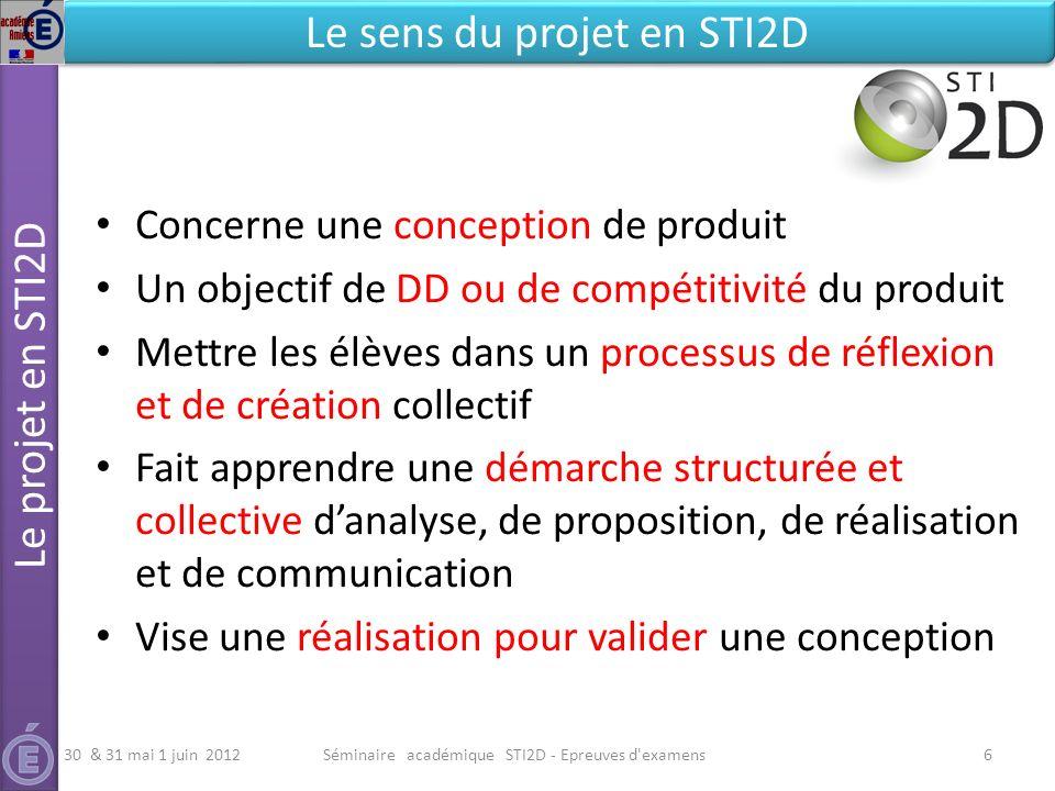 Séminaire académique STI2D - Epreuves d'examens6 Le projet en STI2D Le sens du projet en STI2D Concerne une conception de produit Un objectif de DD ou