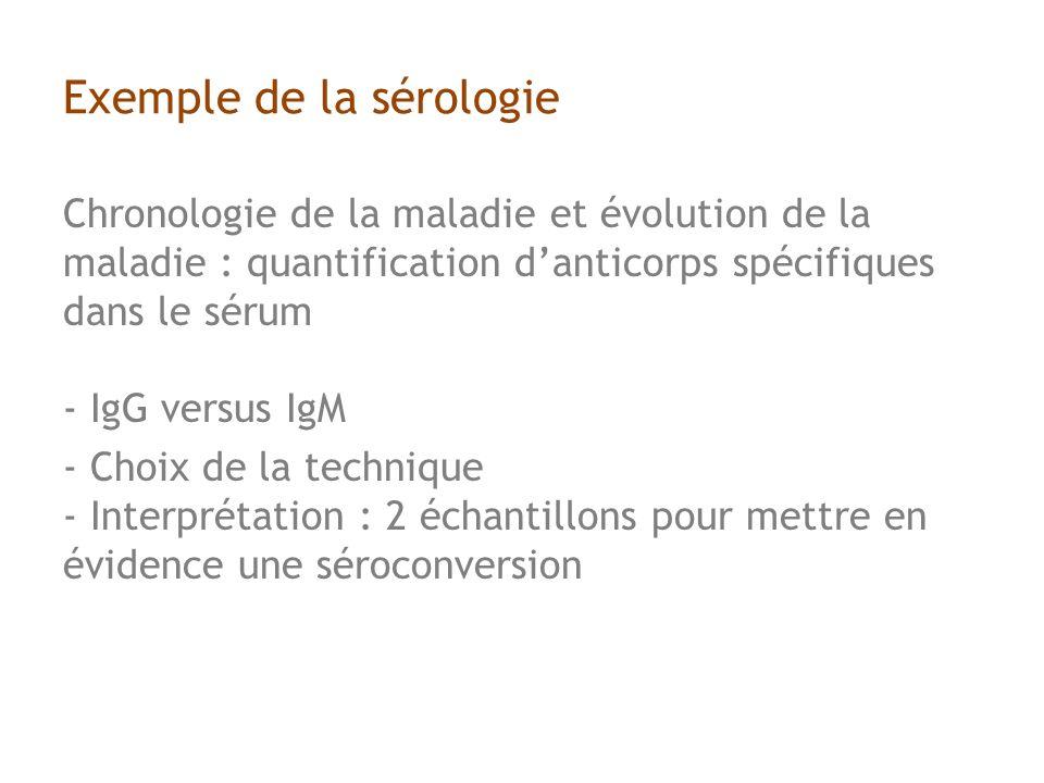 Exemple de la sérologie Chronologie de la maladie et évolution de la maladie : quantification danticorps spécifiques dans le sérum - IgG versus IgM - Choix de la technique - Interprétation : 2 échantillons pour mettre en évidence une séroconversion