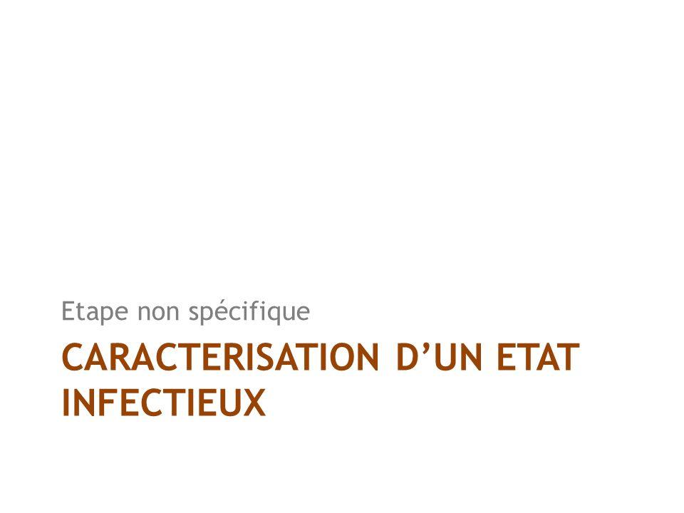 CARACTERISATION DUN ETAT INFECTIEUX Etape non spécifique