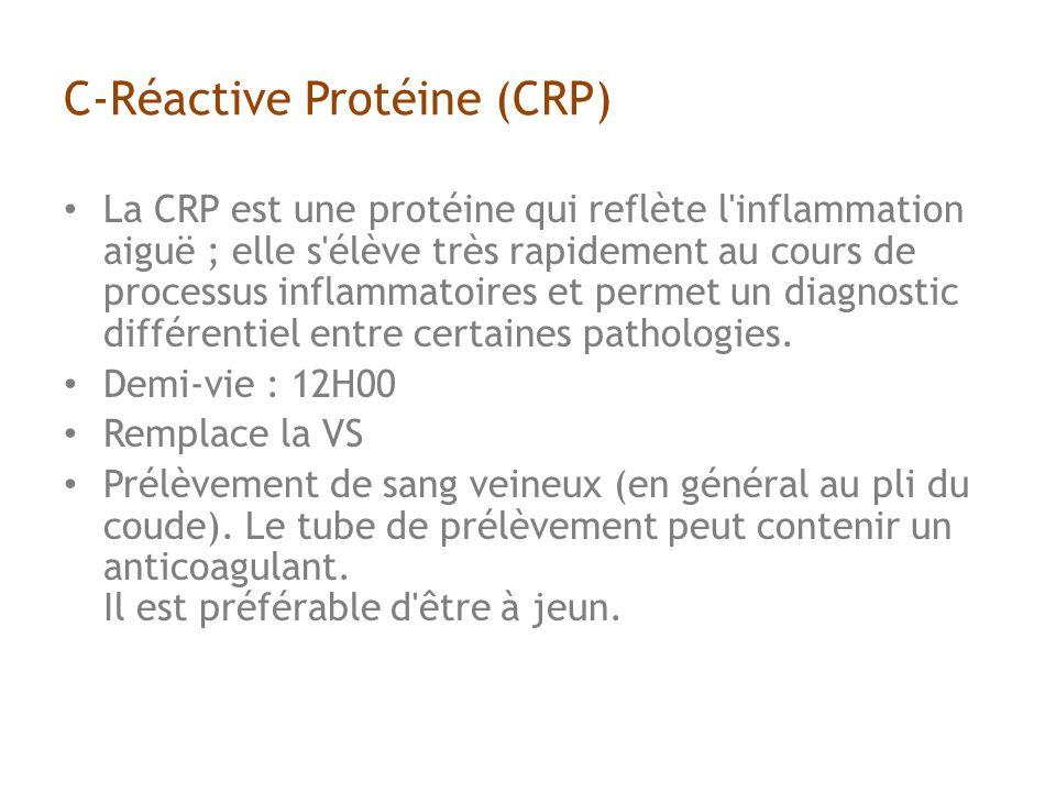 C-Réactive Protéine (CRP) La CRP est une protéine qui reflète l inflammation aiguë ; elle s élève très rapidement au cours de processus inflammatoires et permet un diagnostic différentiel entre certaines pathologies.