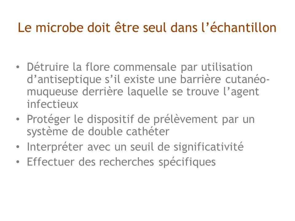Le microbe doit être seul dans léchantillon Détruire la flore commensale par utilisation dantiseptique sil existe une barrière cutanéo- muqueuse derrière laquelle se trouve lagent infectieux Protéger le dispositif de prélèvement par un système de double cathéter Interpréter avec un seuil de significativité Effectuer des recherches spécifiques