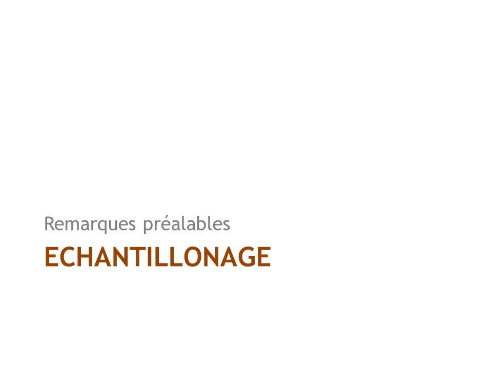 ECHANTILLONAGE Remarques préalables