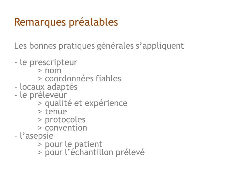 Les bonnes pratiques générales sappliquent - le prescripteur > nom > coordonnées fiables - locaux adaptés - le préleveur > qualité et expérience > tenue > protocoles > convention - lasepsie > pour le patient > pour léchantillon prélevé