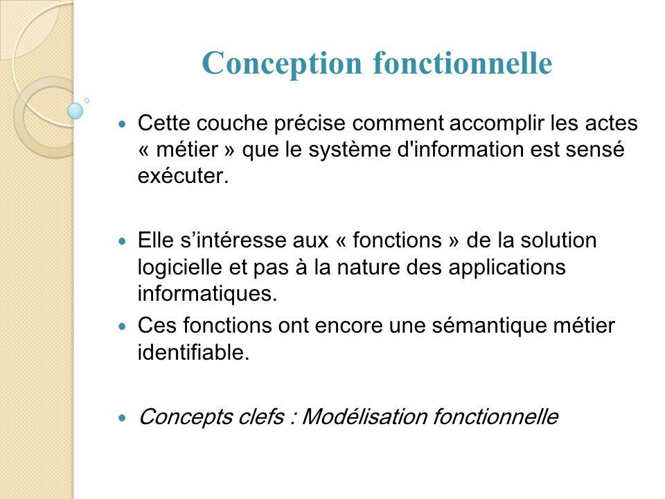 Conception fonctionnelle Cette couche précise comment accomplir les actes « métier » que le système d'information est sensé exécuter. Elle sintéresse