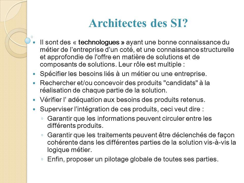 Architectes des SI? Il sont des « technologues » ayant une bonne connaissance du métier de lentreprise dun coté, et une connaissance structurelle et a