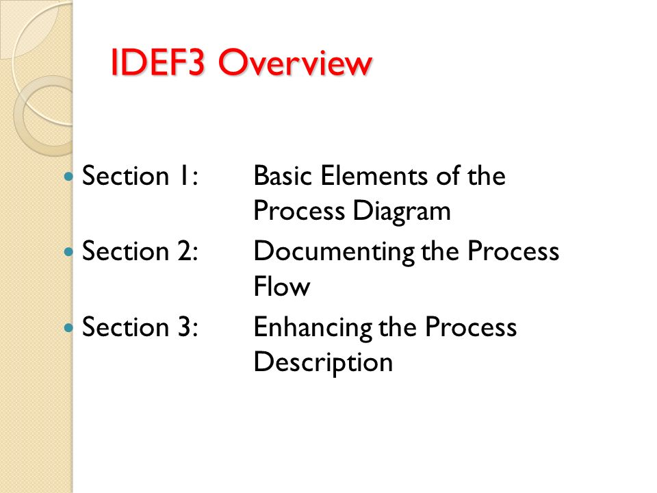 IDEF3 Overview Section 1:Basic Elements of the Process Diagram Section 2:Documenting the Process Flow Section 3:Enhancing the Process Description
