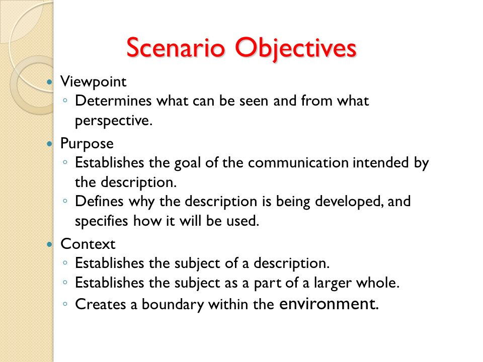 Scenario Objectives Viewpoint Determines what can be seen and from what perspective. Purpose Establishes the goal of the communication intended by the