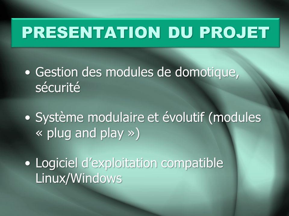 PRESENTATION DU PROJET Gestion des modules de domotique, sécuritéGestion des modules de domotique, sécurité Système modulaire et évolutif (modules « plug and play »)Système modulaire et évolutif (modules « plug and play ») Logiciel dexploitation compatible Linux/WindowsLogiciel dexploitation compatible Linux/Windows