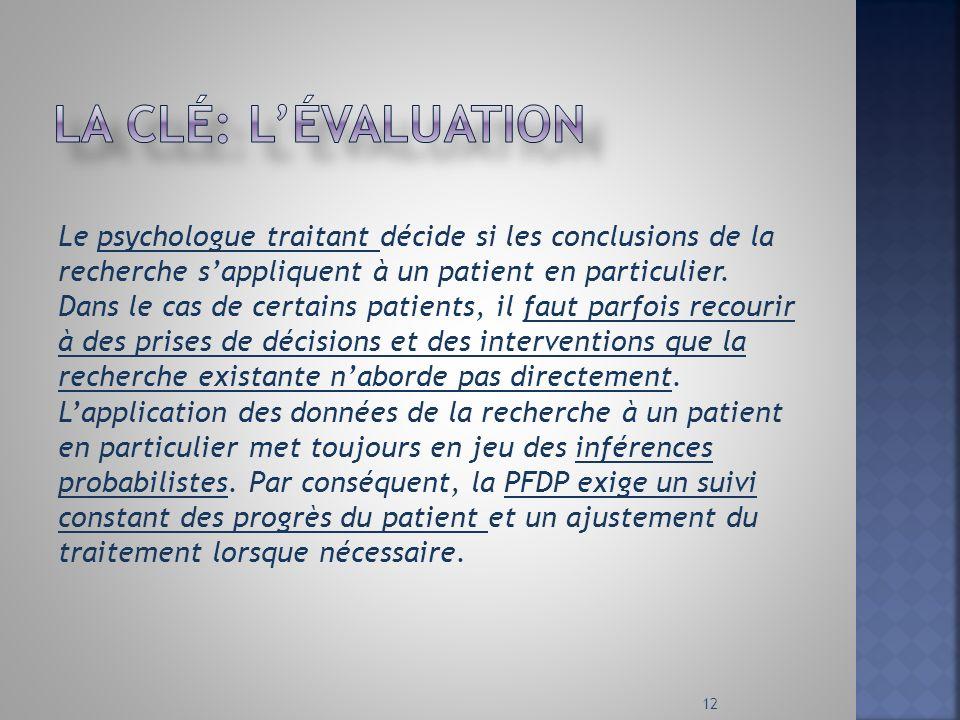 Le psychologue traitant décide si les conclusions de la recherche sappliquent à un patient en particulier. Dans le cas de certains patients, il faut p