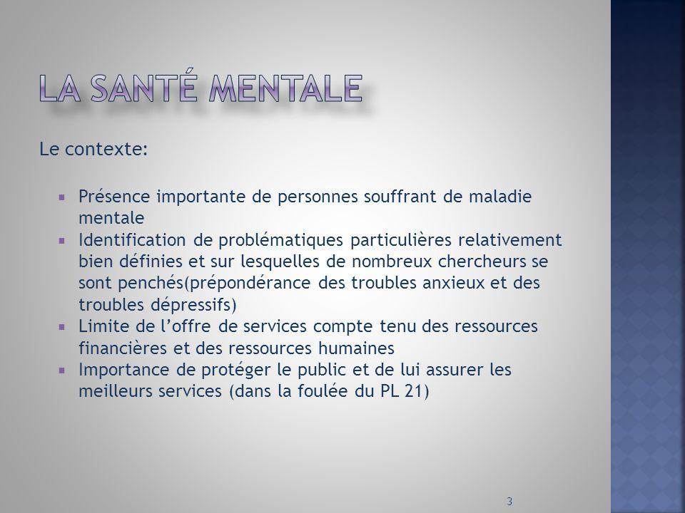 Le contexte: Présence importante de personnes souffrant de maladie mentale Identification de problématiques particulières relativement bien définies e