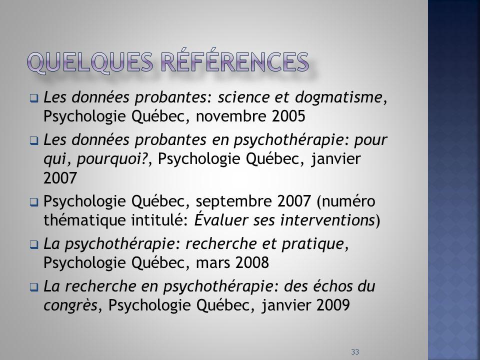 Les données probantes: science et dogmatisme, Psychologie Québec, novembre 2005 Les données probantes en psychothérapie: pour qui, pourquoi?, Psycholo