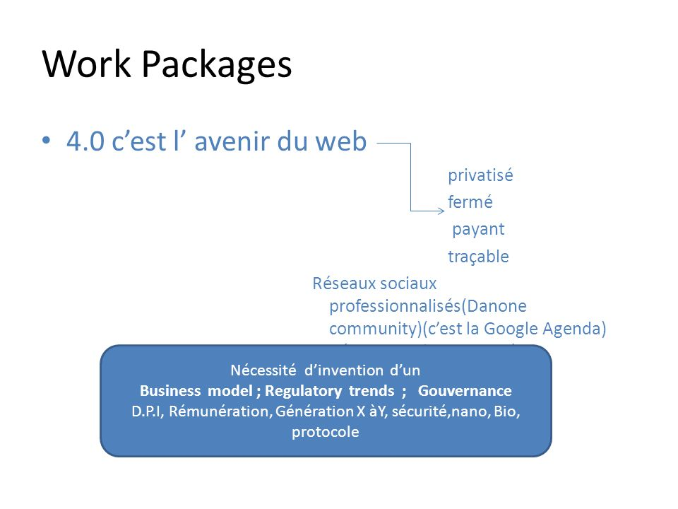 Work Packages 4.0 cest l avenir du web privatisé fermé payant traçable Réseaux sociaux professionnalisés(Danone community)(cest la Google Agenda) Rése