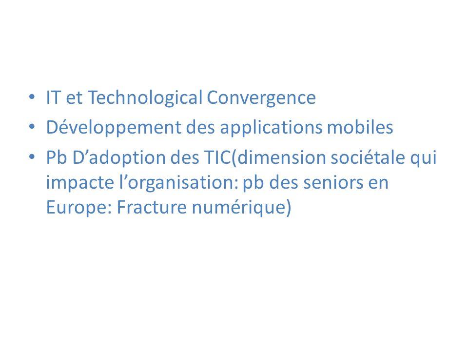 IT et Technological Convergence Développement des applications mobiles Pb Dadoption des TIC(dimension sociétale qui impacte lorganisation: pb des seni
