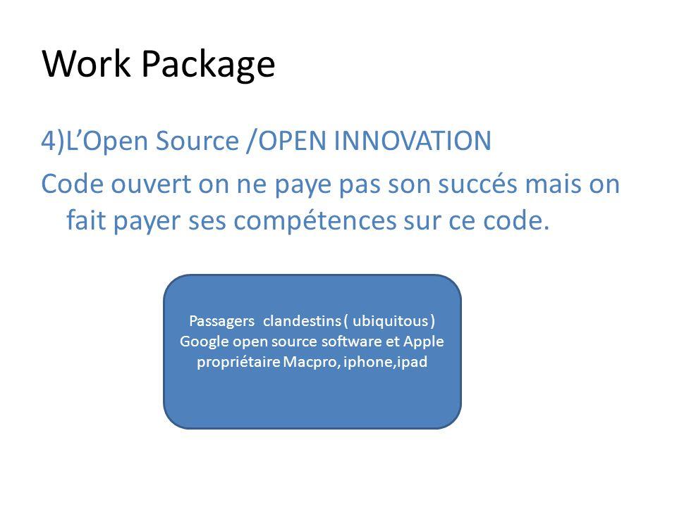 Work Package 4)LOpen Source /OPEN INNOVATION Code ouvert on ne paye pas son succés mais on fait payer ses compétences sur ce code. Passagers clandesti