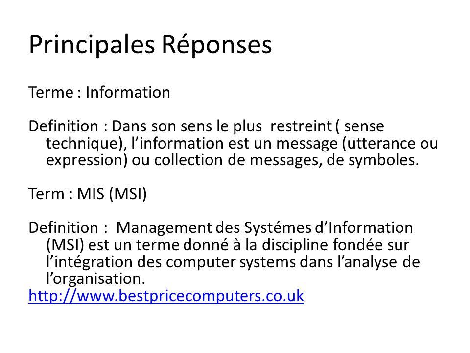 Principales Réponses Terme : Information Definition : Dans son sens le plus restreint ( sense technique), linformation est un message (utterance ou ex