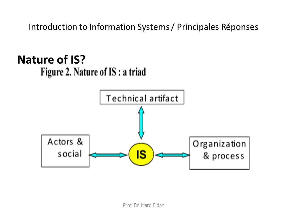 Introduction to Information Systems / Principales Réponses Nature of IS? Prof. Dr. Marc Bidan