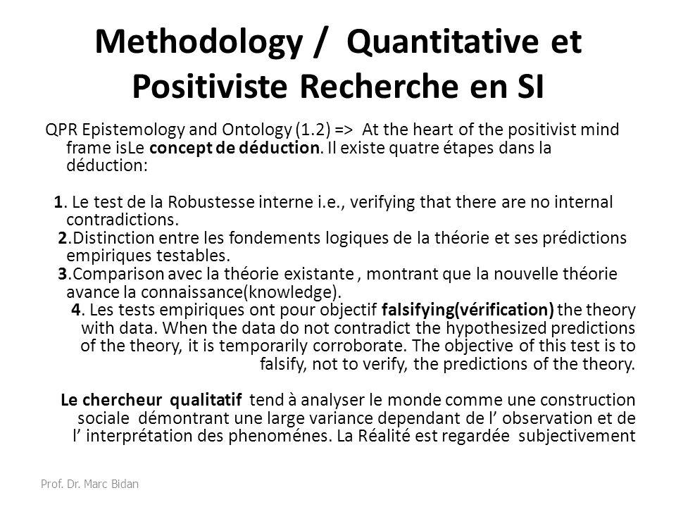 Methodology / Quantitative et Positiviste Recherche en SI QPR Epistemology and Ontology (1.2) => At the heart of the positivist mind frame isLe concep