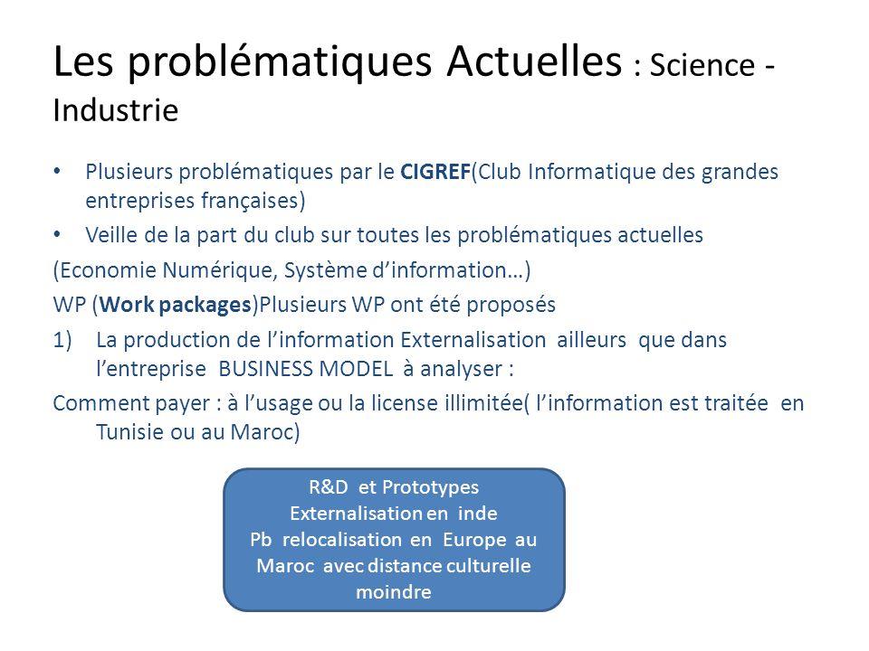 Les problématiques Actuelles : Science - Industrie Plusieurs problématiques par le CIGREF(Club Informatique des grandes entreprises françaises) Veille