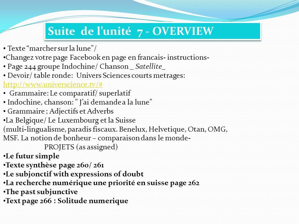 Suite de lunité 7 - OVERVIEW Texte marcher sur la lune/ Changez votre page Facebook en page en francais- instructions- Page 244 groupe Indochine/ Chan