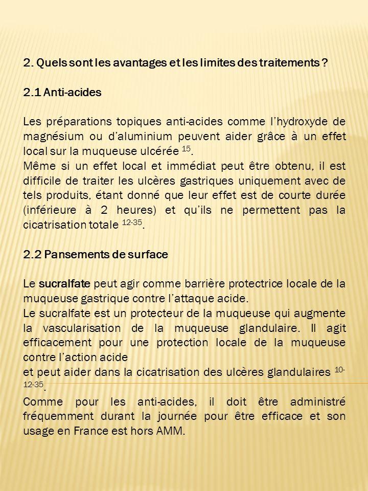 1.2 Protection de la muqueuse gastrique. Lusage de médicaments par voie orale (anti-acides et pansements) ou de compléments alimentaires (avec de la p
