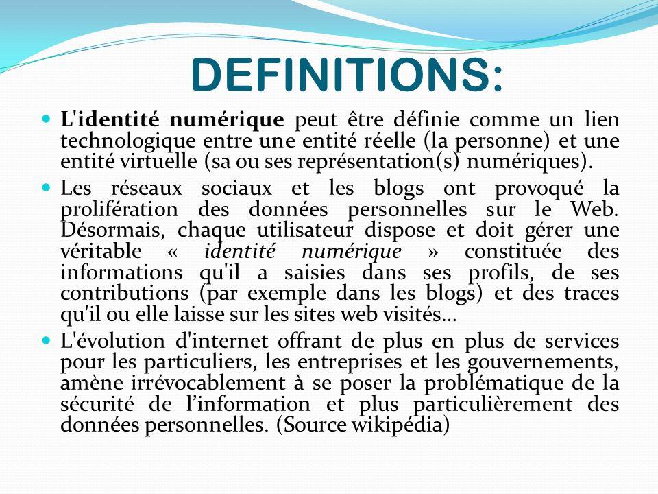 DEFINITIONS: L'identité numérique peut être définie comme un lien technologique entre une entité réelle (la personne) et une entité virtuelle (sa ou s