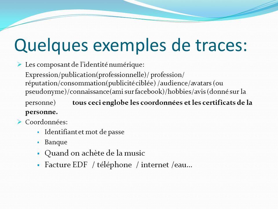 Quelques exemples de traces: Les composant de lidentité numérique: Expression/publication(professionnelle)/ profession/ réputation/consommation(public