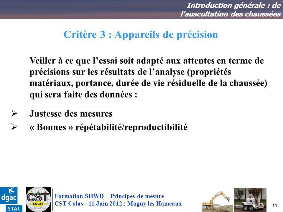 11 Formation SHWD – Principes de mesure CST Colas - 11 Juin 2012 ; Magny les Hameaux Critère 3 : Appareils de précision Introduction générale : de lau
