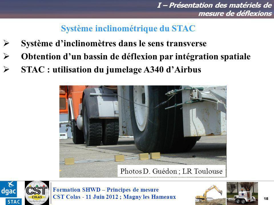 18 Formation SHWD – Principes de mesure CST Colas - 11 Juin 2012 ; Magny les Hameaux Système inclinométrique du STAC I – Présentation des matériels de