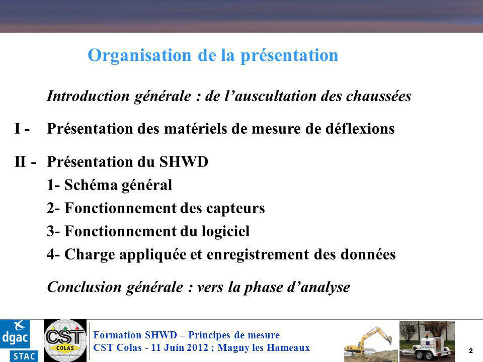 3 Formation SHWD – Principes de mesure CST Colas - 11 Juin 2012 ; Magny les Hameaux Introduction générale : de lauscultation des chaussées I - Présentation des matériels de mesure de déflexions II -Présentation du SHWD 1- Schéma général 2- Fonctionnement des capteurs 3- Fonctionnement du logiciel 4- Charge appliquée et enregistrement des données Conclusion générale : vers la phase danalyse Organisation de la présentation