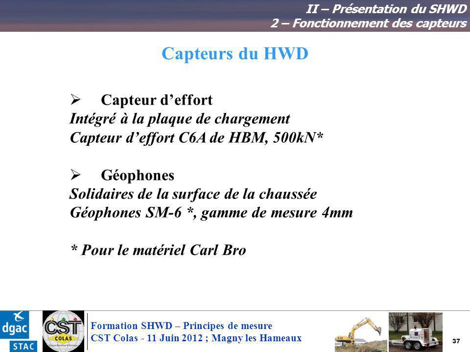 37 Formation SHWD – Principes de mesure CST Colas - 11 Juin 2012 ; Magny les Hameaux Capteurs du HWD Capteur deffort Intégré à la plaque de chargement