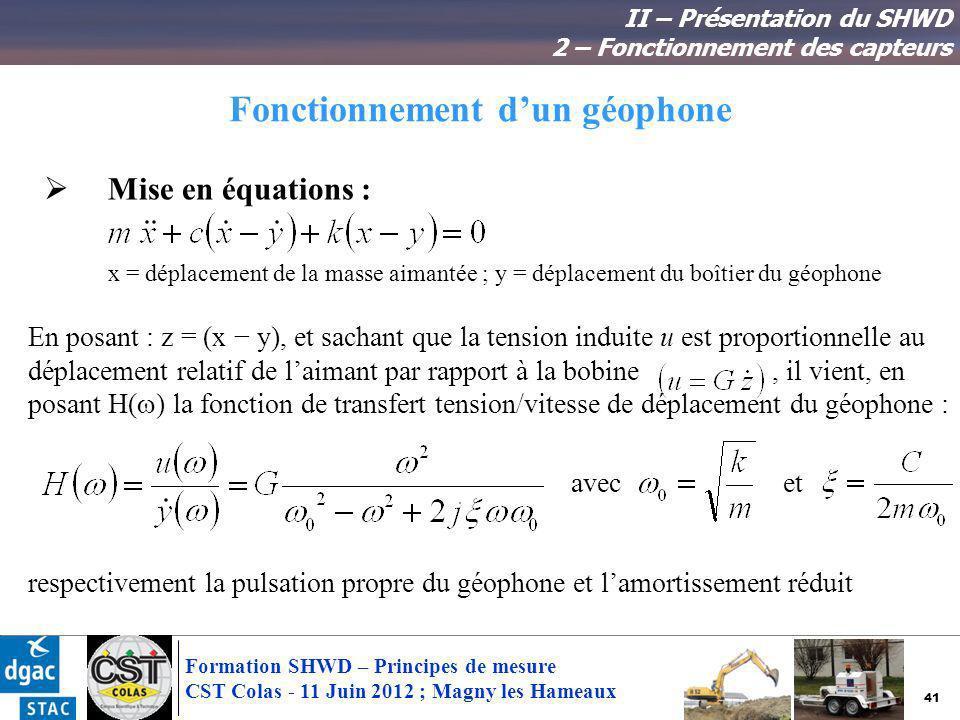 41 Formation SHWD – Principes de mesure CST Colas - 11 Juin 2012 ; Magny les Hameaux Fonctionnement dun géophone II – Présentation du SHWD 2 – Fonctio