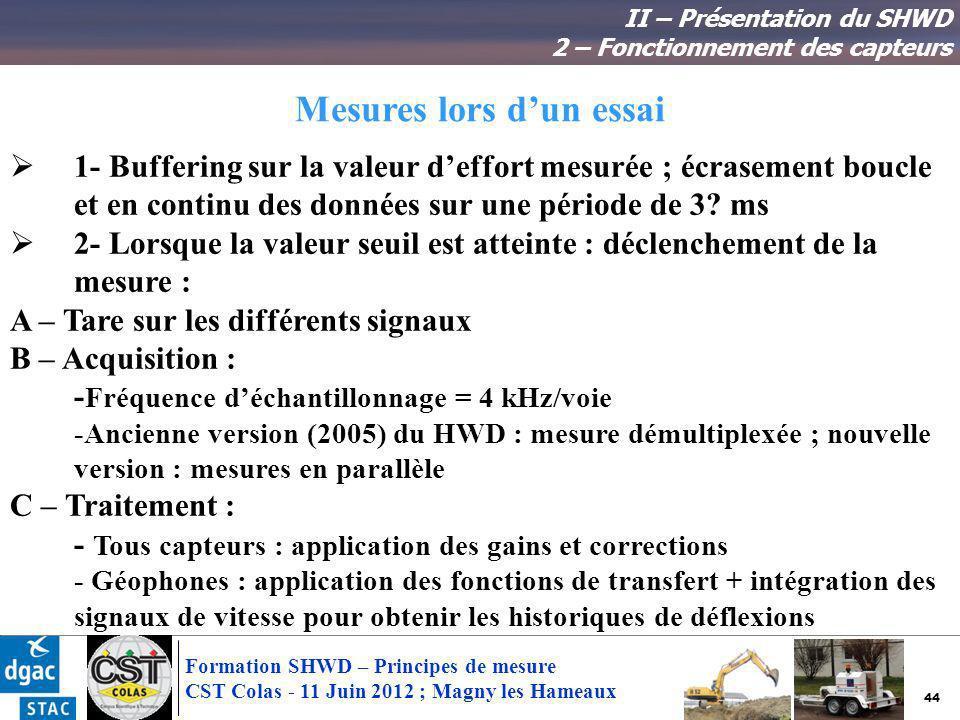 44 Formation SHWD – Principes de mesure CST Colas - 11 Juin 2012 ; Magny les Hameaux Mesures lors dun essai 1- Buffering sur la valeur deffort mesurée